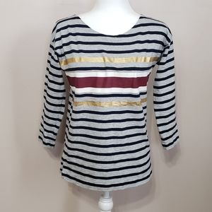 J crew gold foil striped long sleeve tee